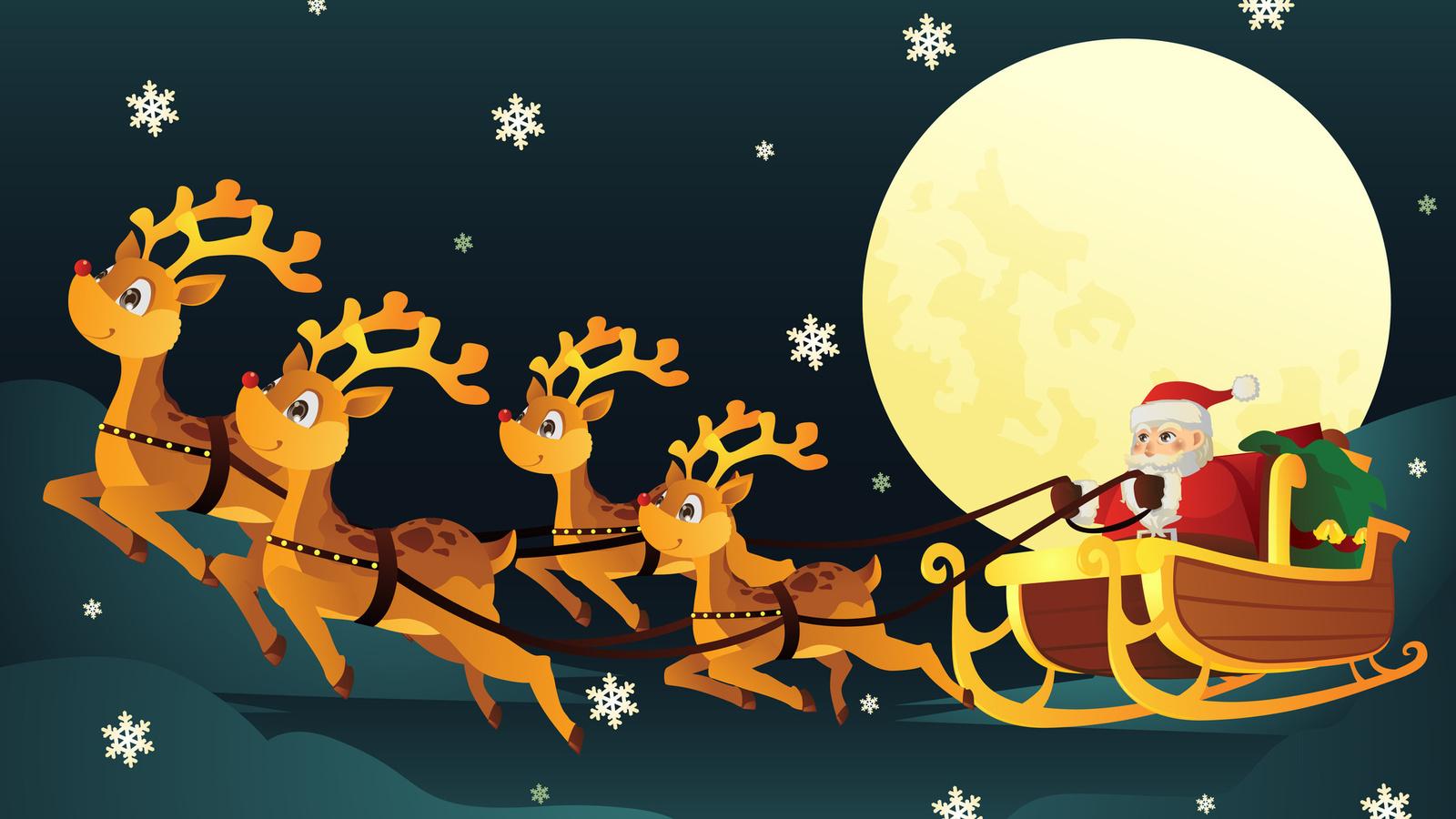 Новогодние картинки сани с оленями, картинки