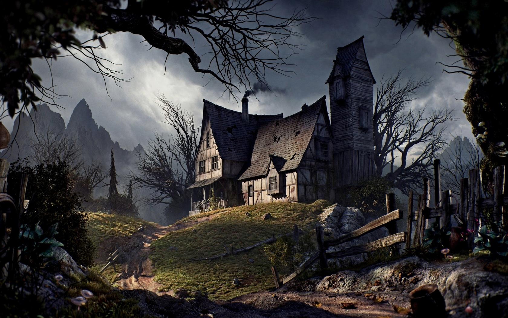 old house, halloween, road, fence, trees, mountains, старый дом, хэллоуин, дорога, забор, деревья, горы