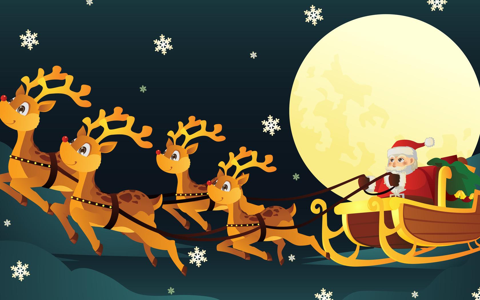 Днем рождения, открытка с новым годом с оленями