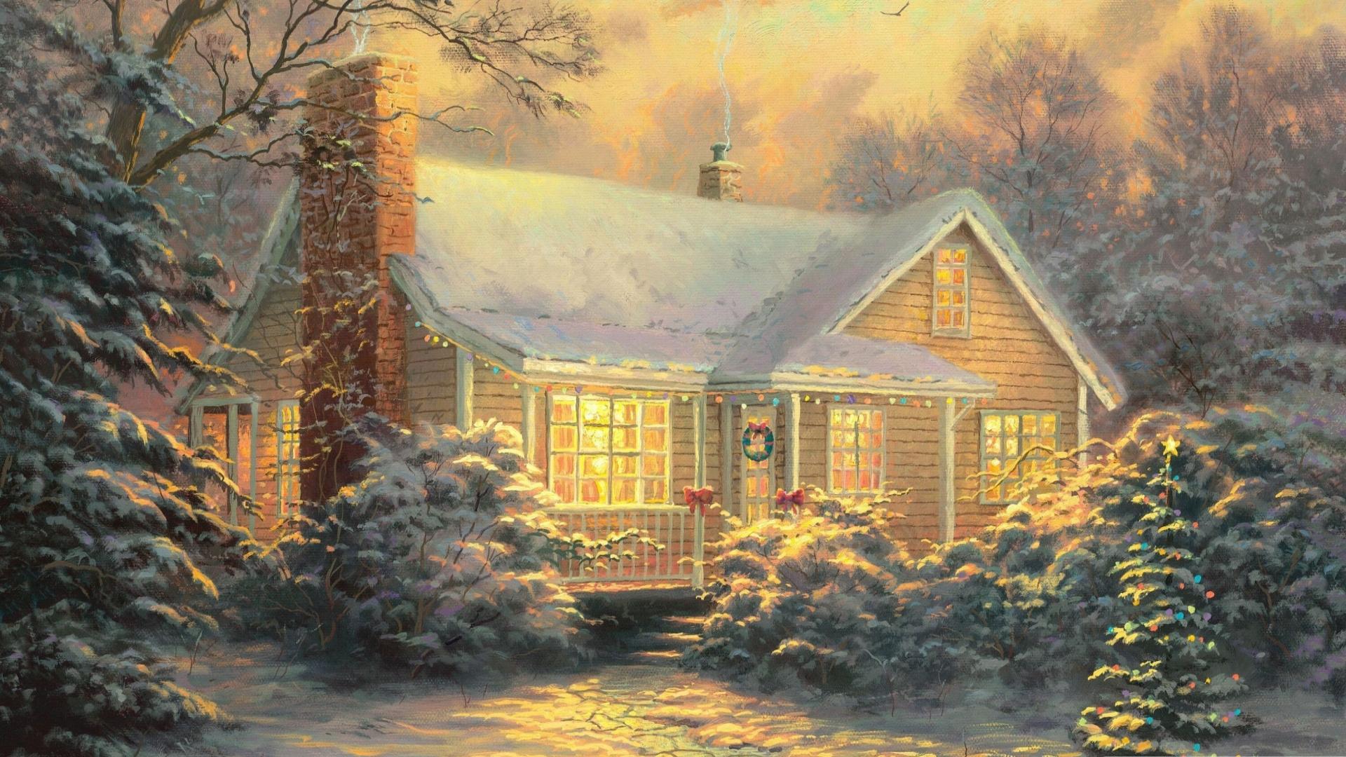 Новогодние картинки с домиками