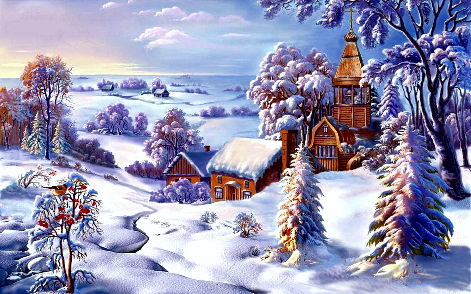 Новогодние открытки зимней пейзаж, сердце воде картинки