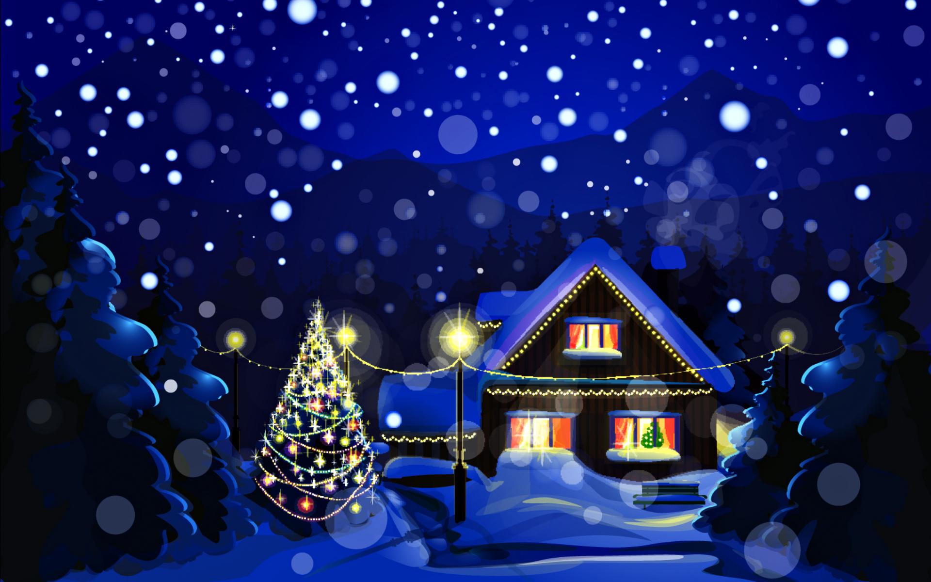 Анимация, открытки зимняя ночь