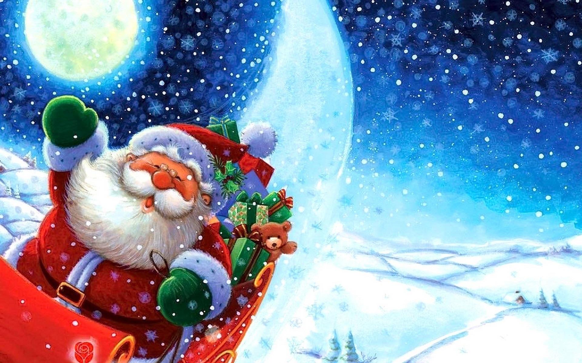 Новогодние открытки с санта клаус, первым днем