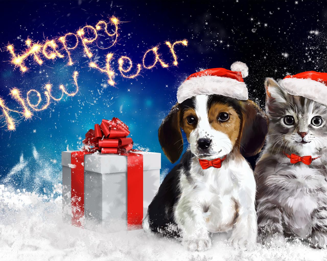 Открытки собаки и новый год