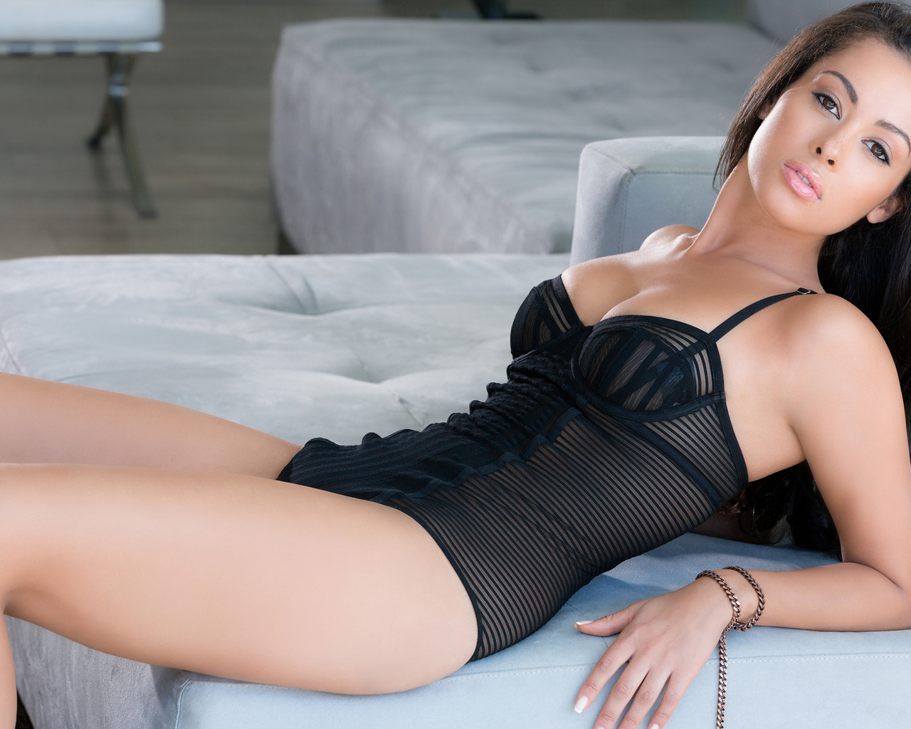 ashley doris, brunette, sexy, sofa, look, black swimsuit