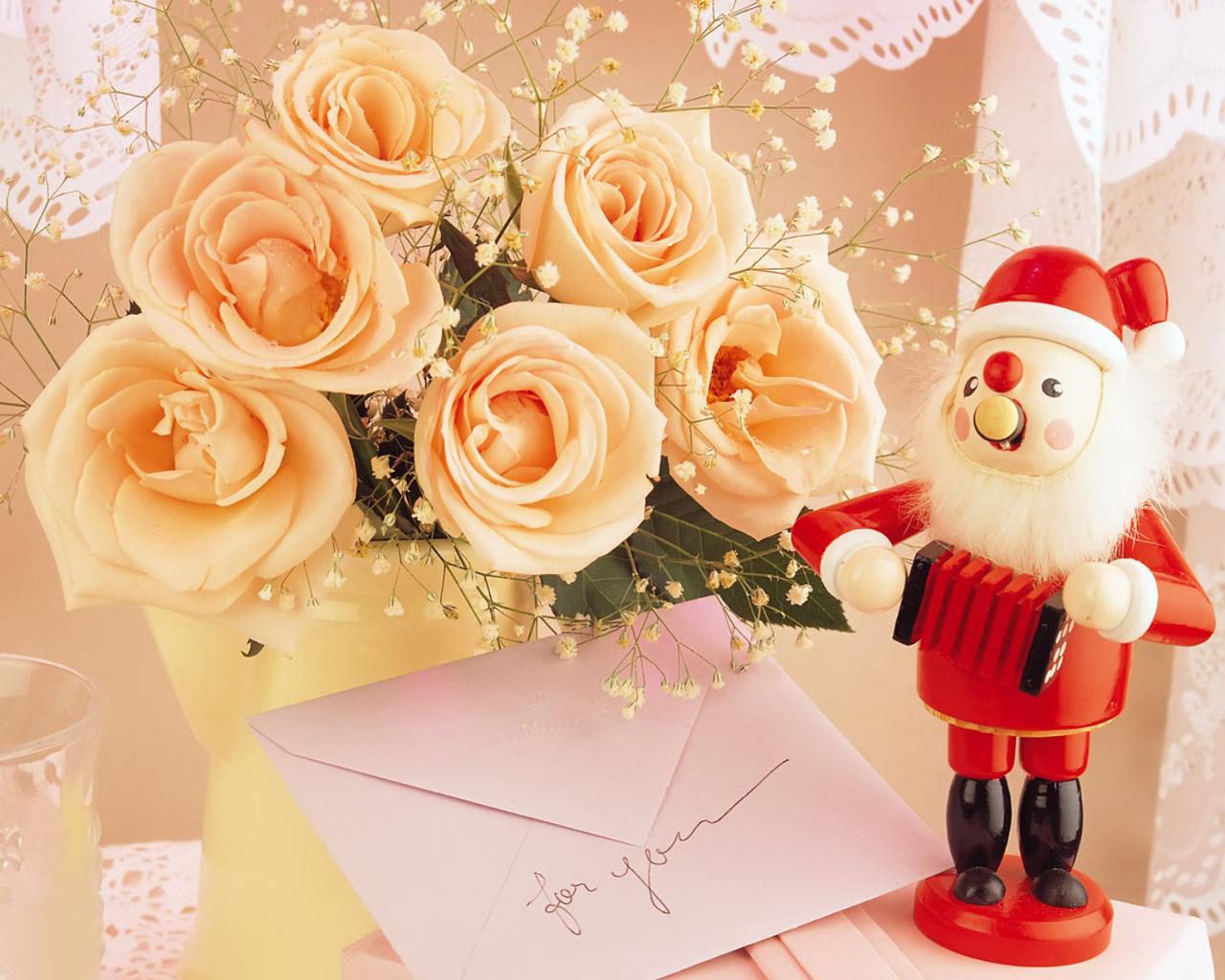 Цветок для новогодней открытки, днем рождения