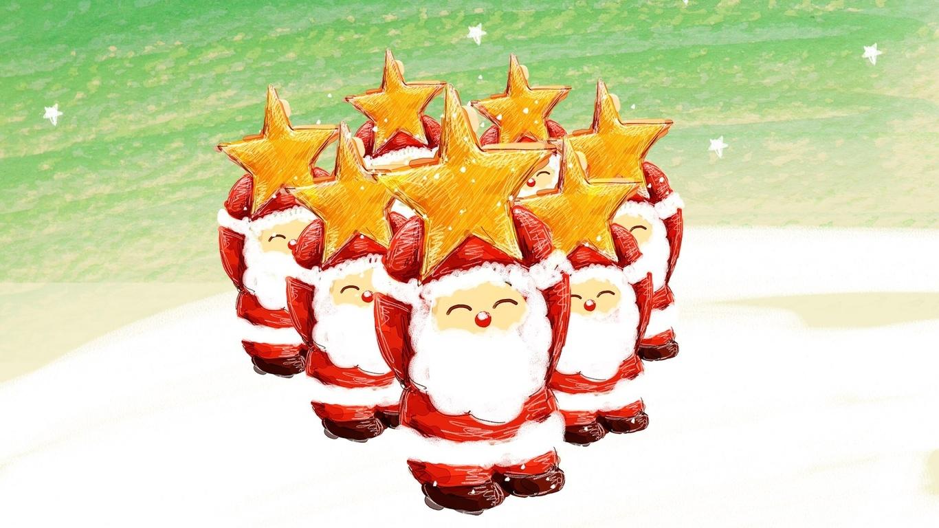 деды морозы, звездочки, новый год, рождество, снег