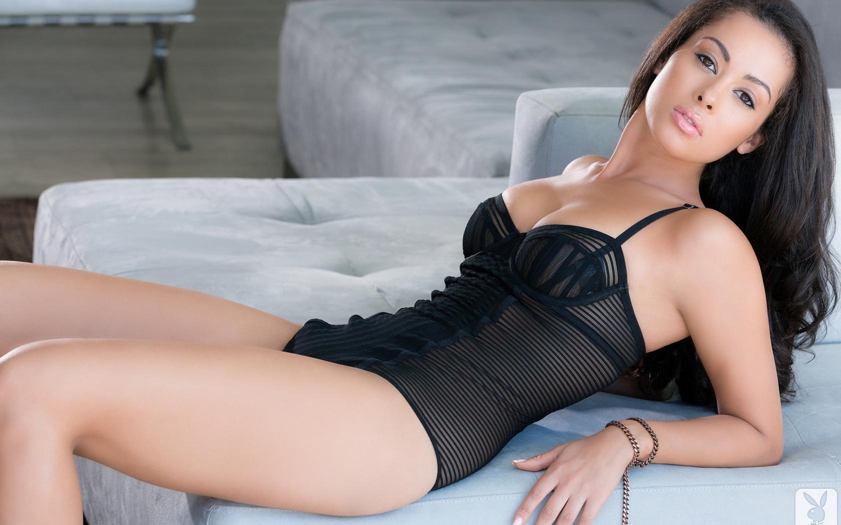 ashley doris, brunette, sexy, sofa, look, black swimsuit