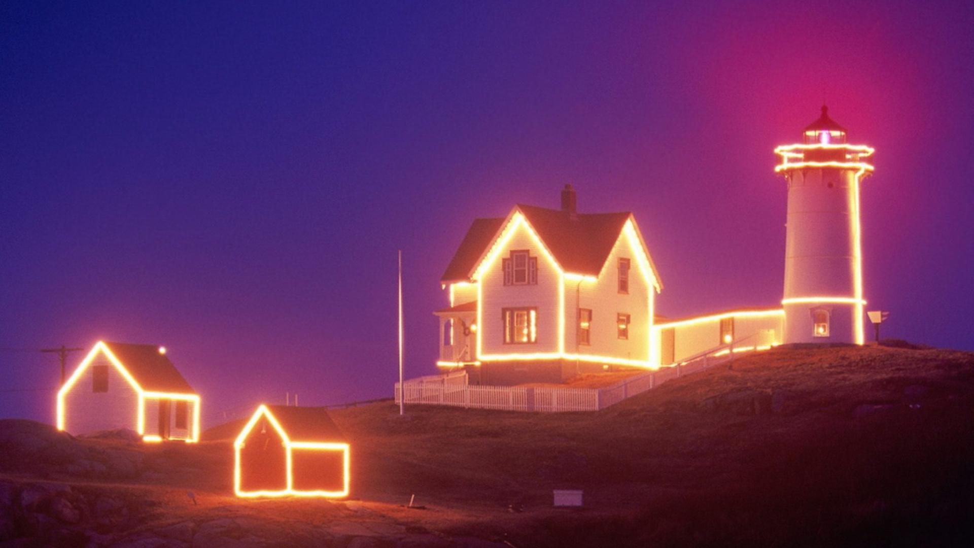 маяк, подсветка, новый год, дом, праздник, рождество