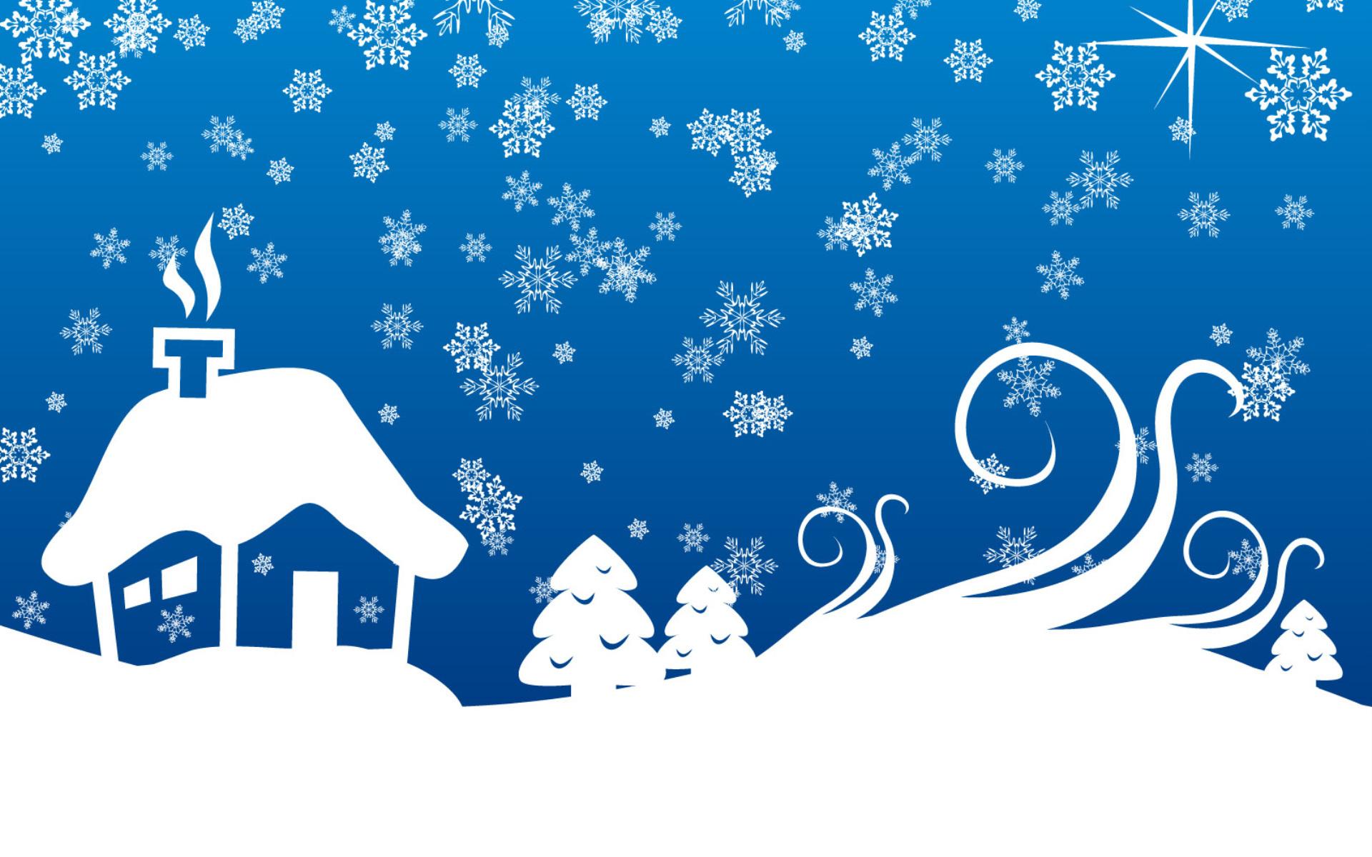 Открытки снежинки и елочка