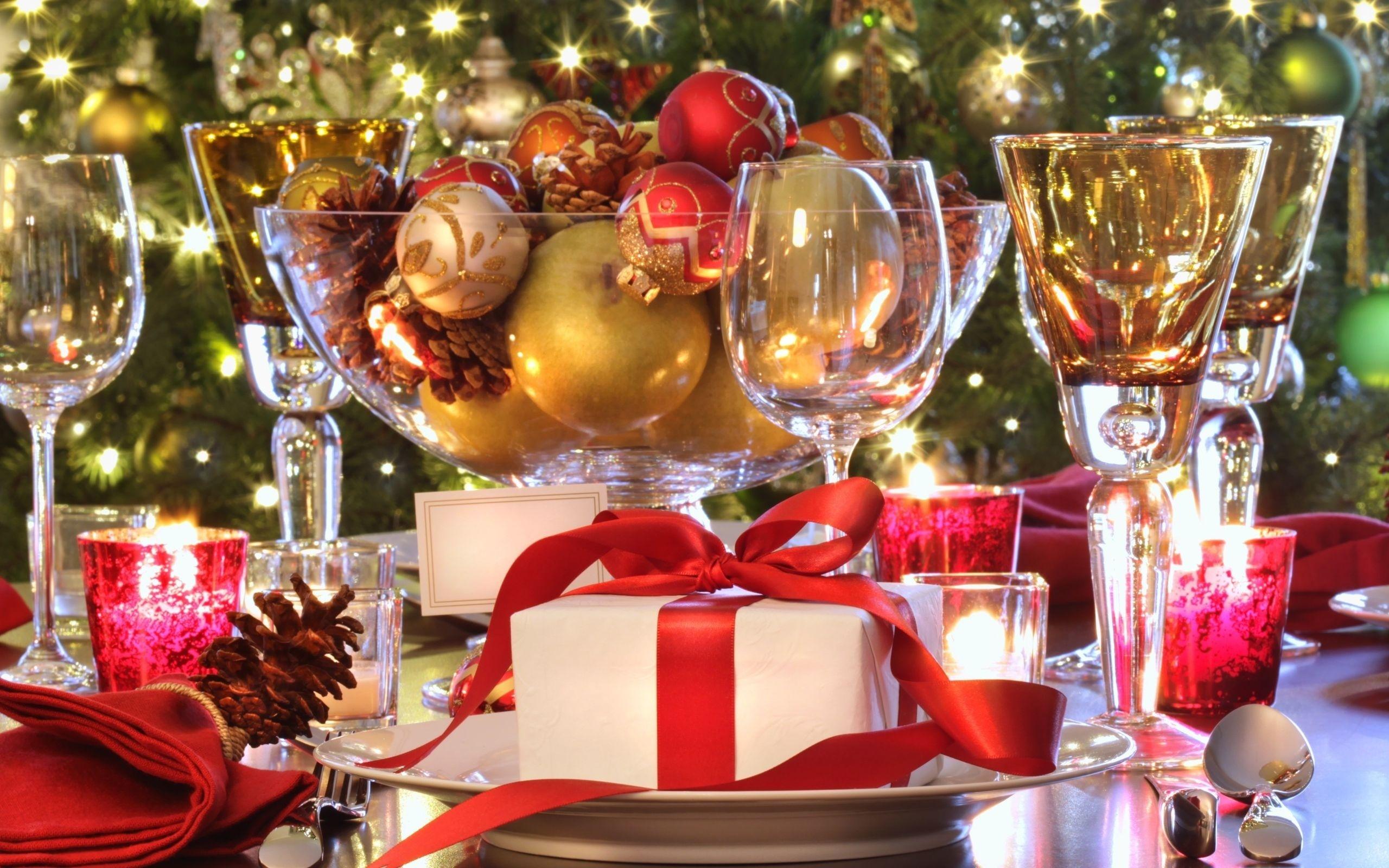 Новогодние открытки новогоднего стола, днем