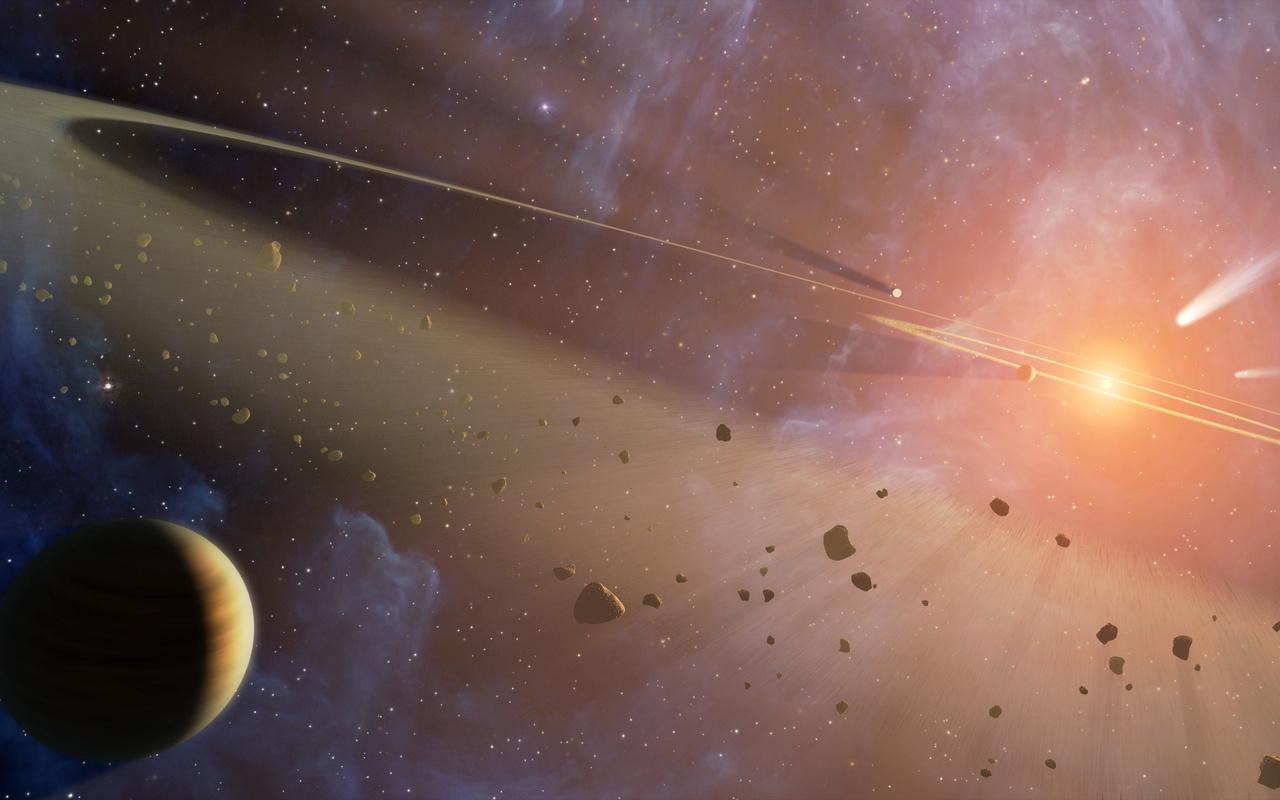 космос, планета, осколки, звезда, взрыв