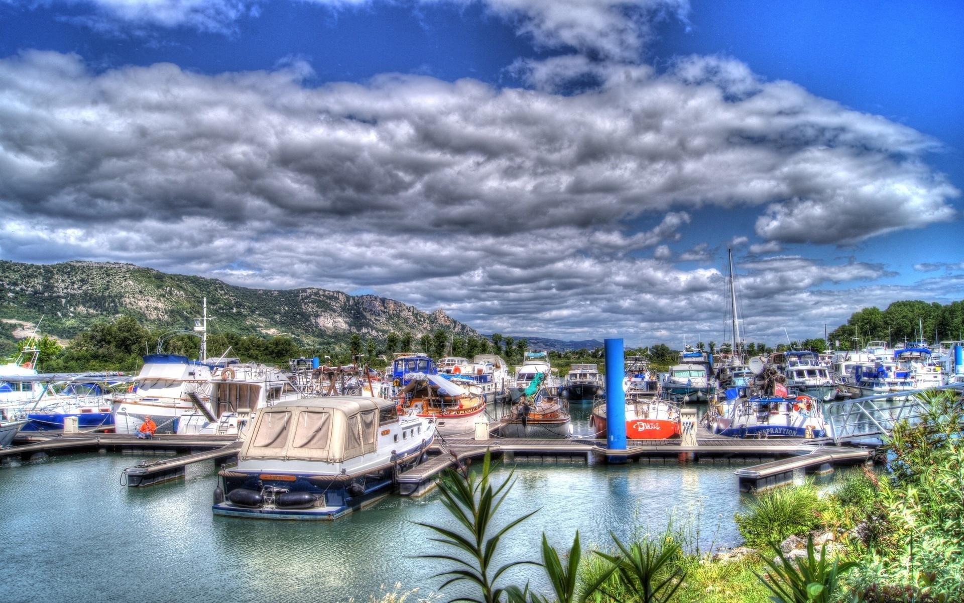 катера, порт, природа, небо,облака