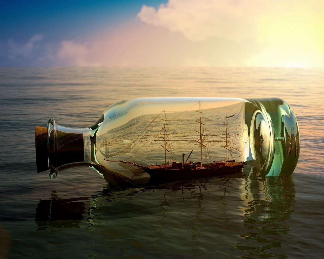 корабль, бутылка, море, небо, солнце, облака