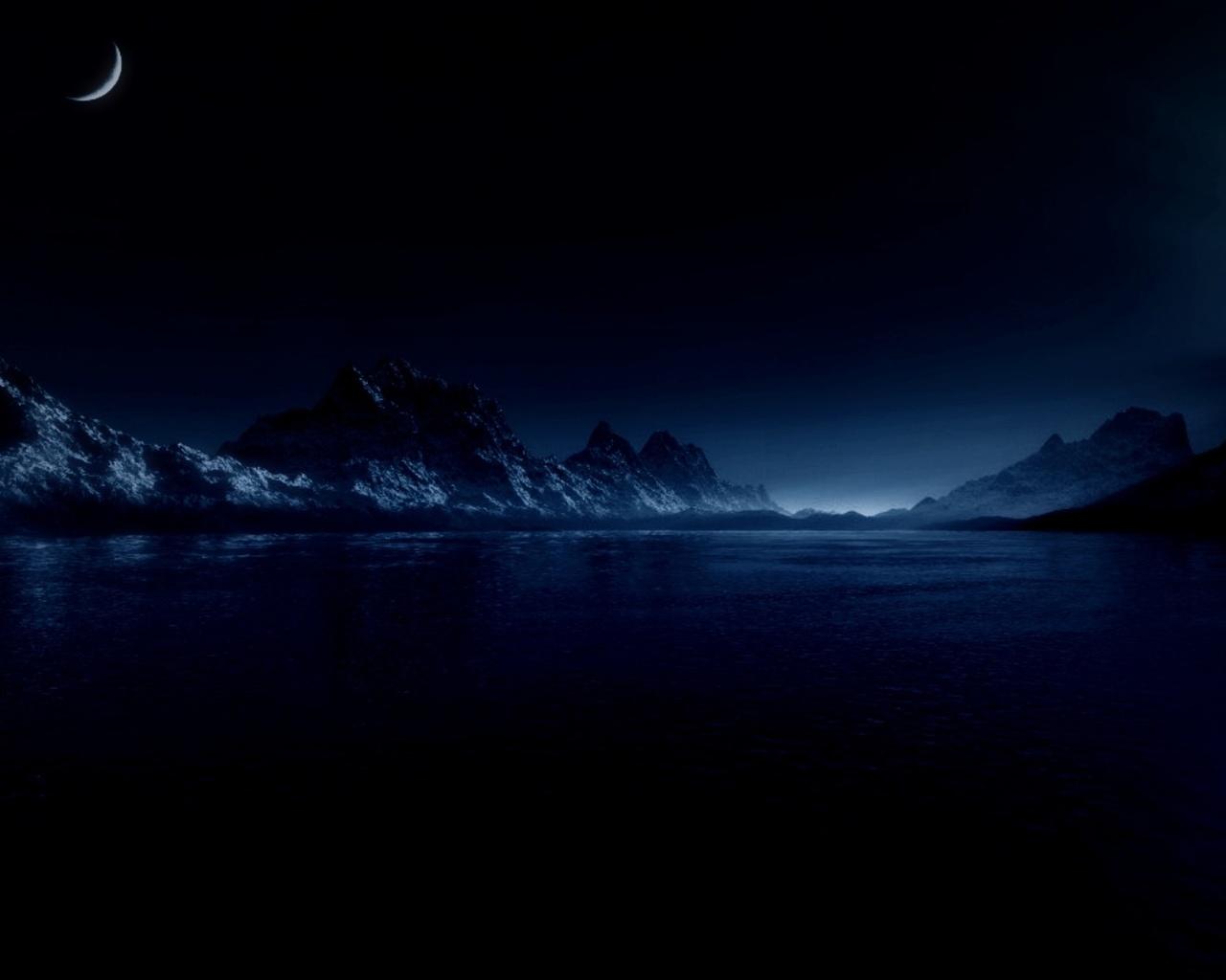 вода, море, горы, свет, луна, звезды, ночь