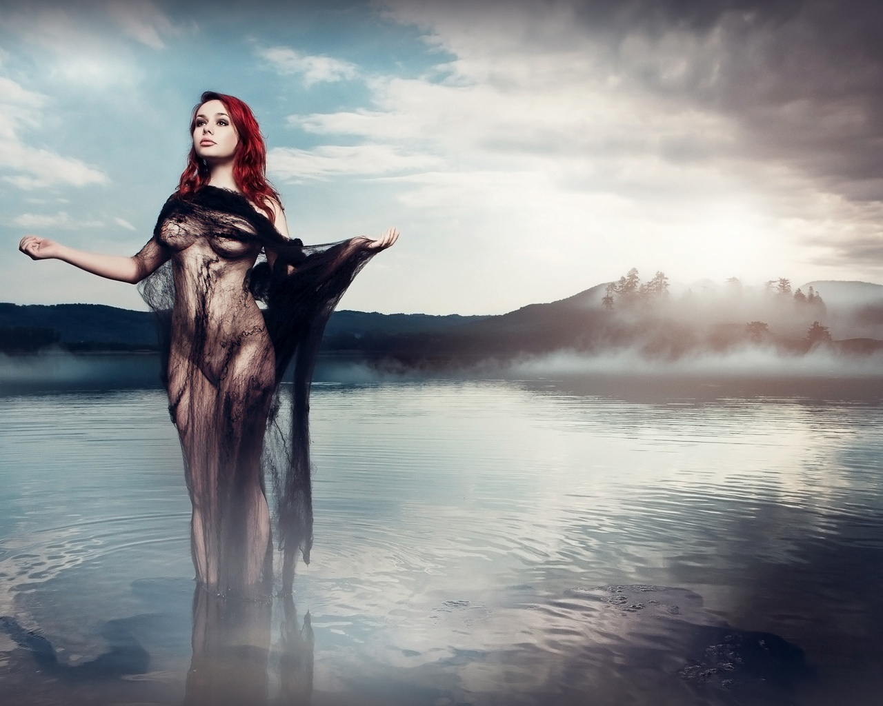 daniel ilinca, model, photo, sexy, tits, nude, закат, вода, небо, прозрачно, вуаль, шатенка, грудь, живот, сиськи, взгляд, облака, cs6, kraft