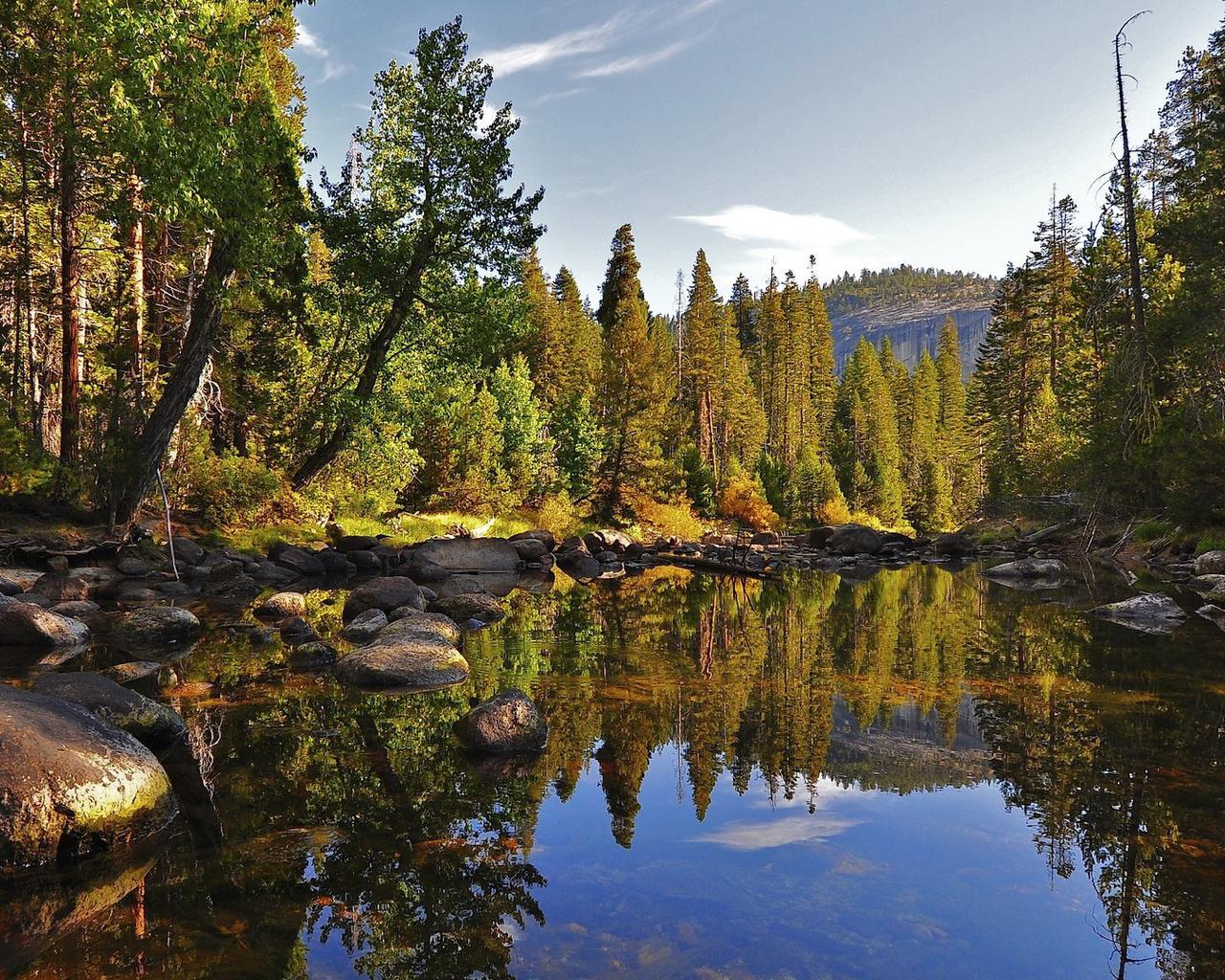 ручей, лес, вода, горы, деревья, камни, небо, красота, отражение