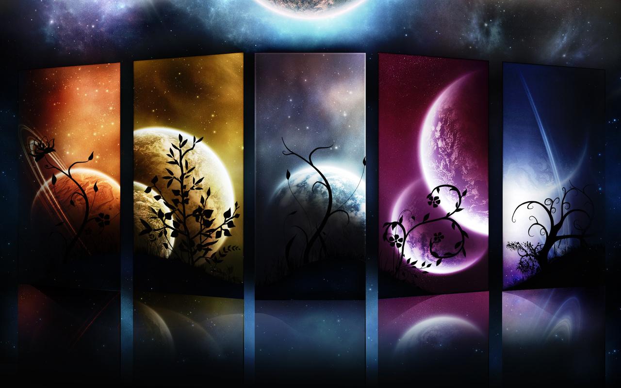 космос, планеты, узоры