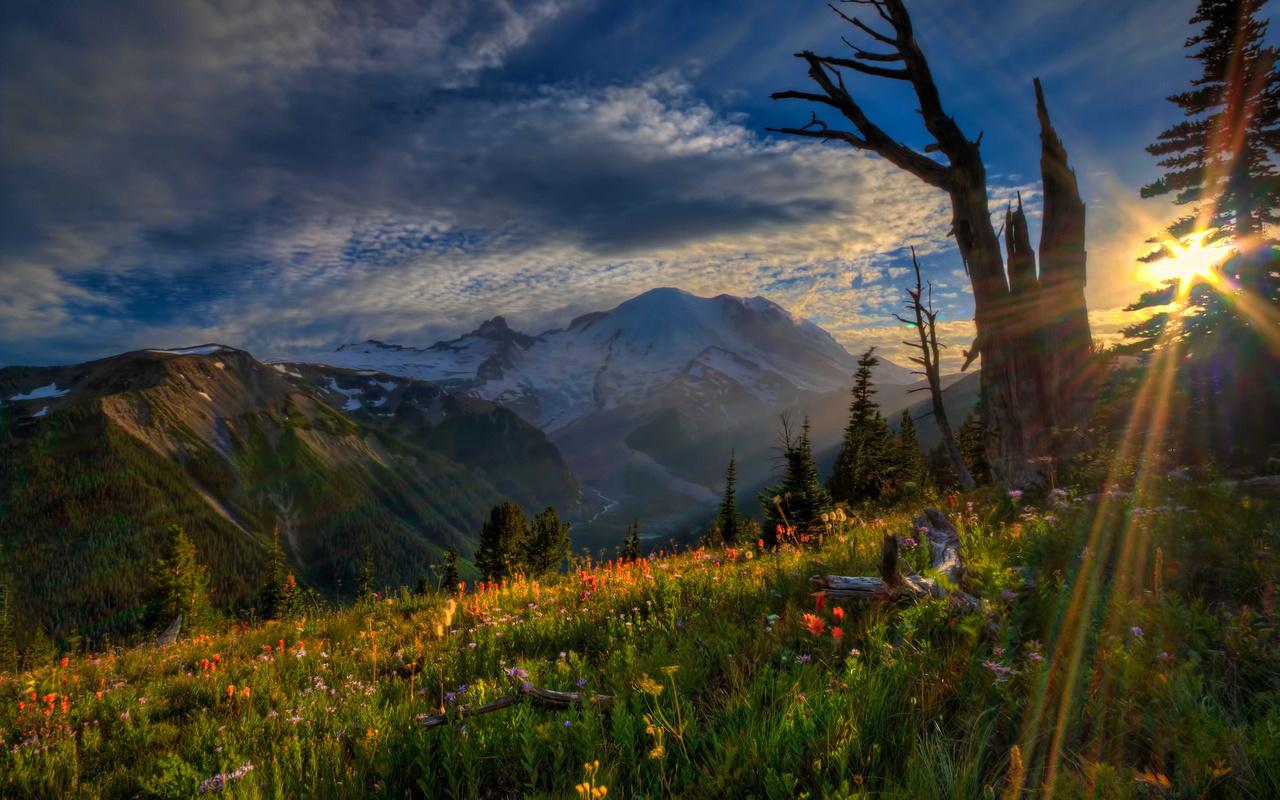 небо, солнце, горы, поляна, облака, природа