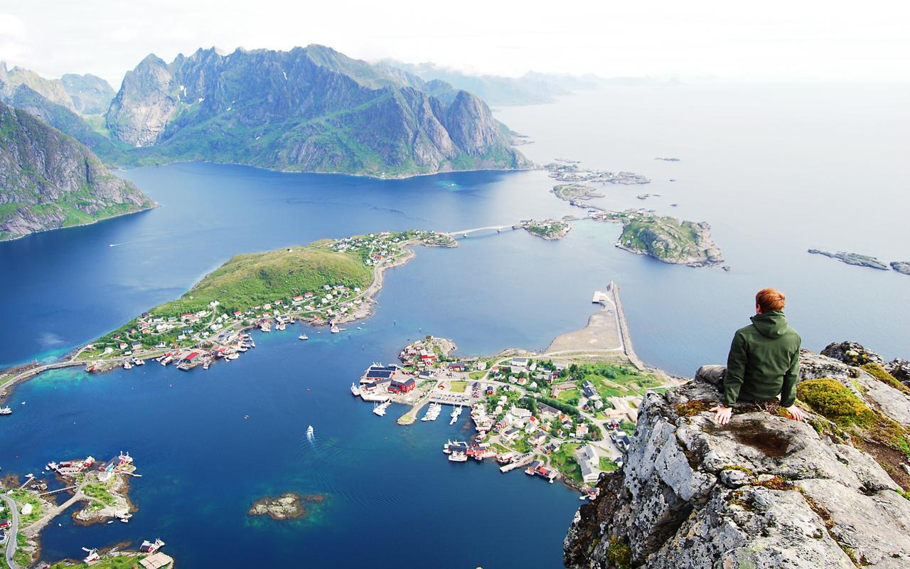 норвегия, горы, море, вид, человек, красиво, город, небо, природа