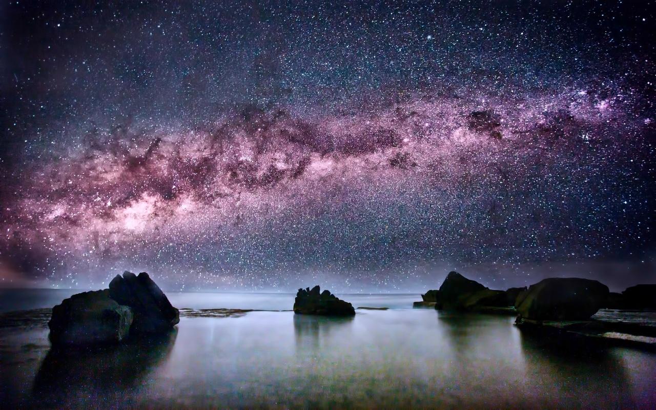 млечный путь, звезды, космос, скалы, море, океан, ночь, космос, небо