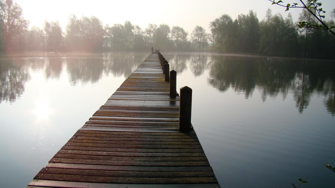 пруд, озеро, природа, мостик, кладка, рыбалка, супер, небо, туман, люди