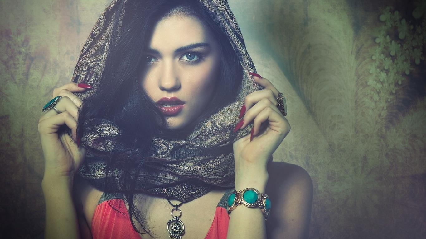 девушка, шарф, взгляд