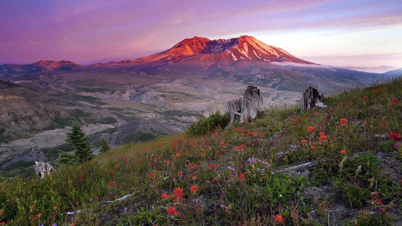 горы, поляна, небо,облака, природа