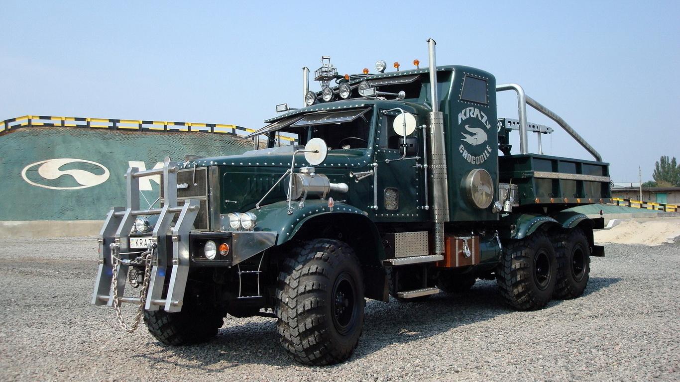 краз, тягач, грузовик, сила, мощь, красота, колеса, фары, дуги, тюнинг