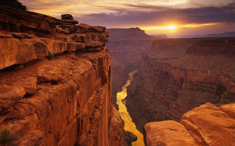 каньон, река, высота, закат, фото, вид, пейзаж, желтая, камень