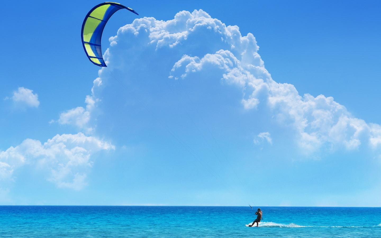 кайтсёрфинг, море, океан, небо, облака, парашют, кайтсерфинг