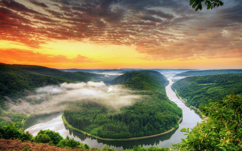 река, извилистая, лес, небо, закат, туман