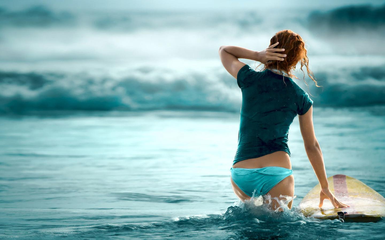 девушка, море