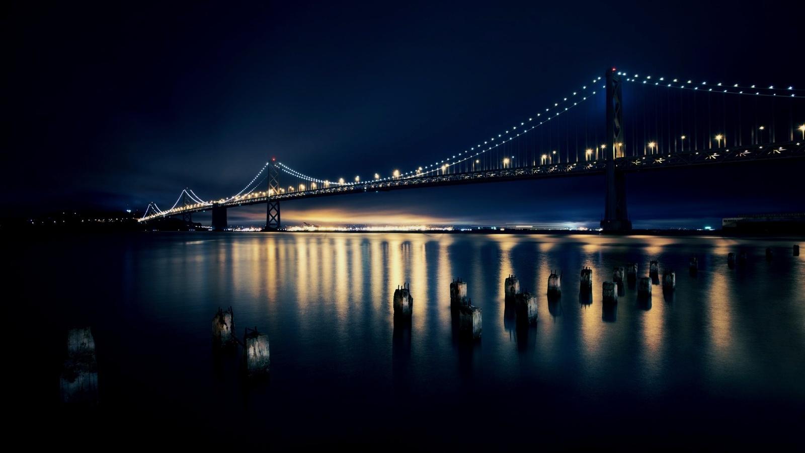 мост, вода, огни, красиво, ночь, небо