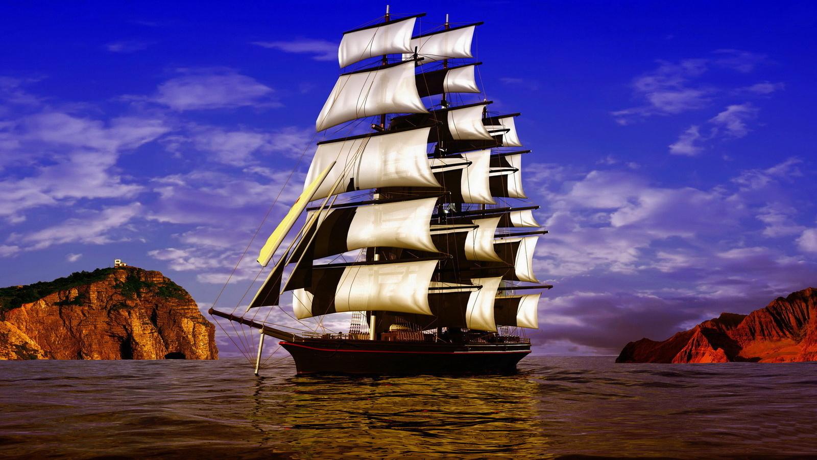 корабль, фрегат, океан, паруса, вода, небо, скалы, облака, корабель,