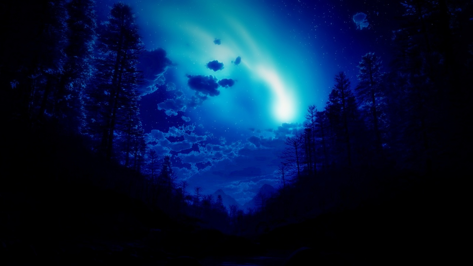 северное сияние, звезды, небо, ночь, трава, вода, лес