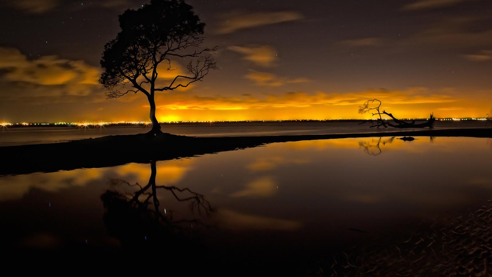 закат, дерево, небо, звезды, креатив, отблеск, вода, обои, красиво, облака, природа