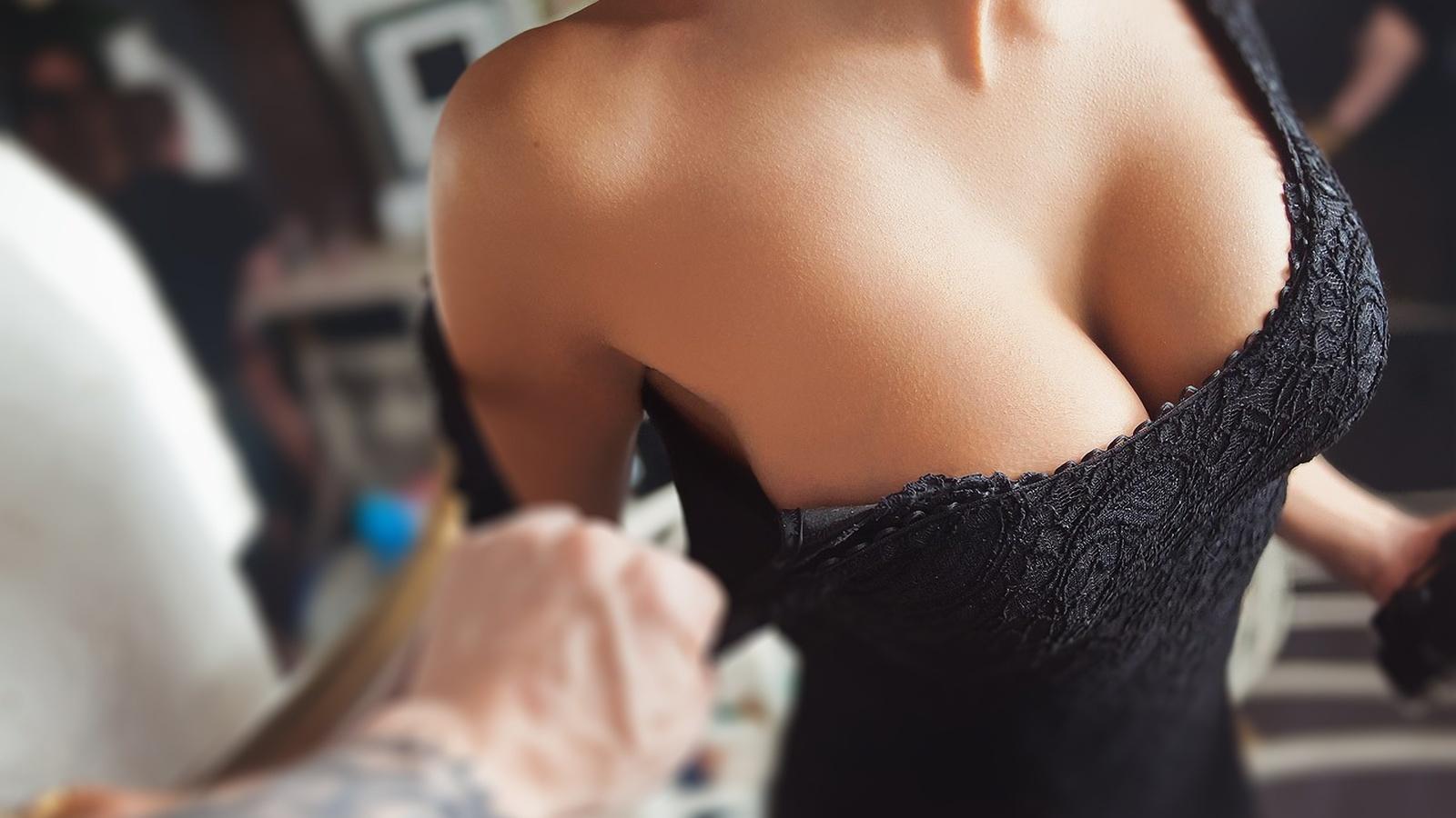 девушка, грудь, красиво, рука