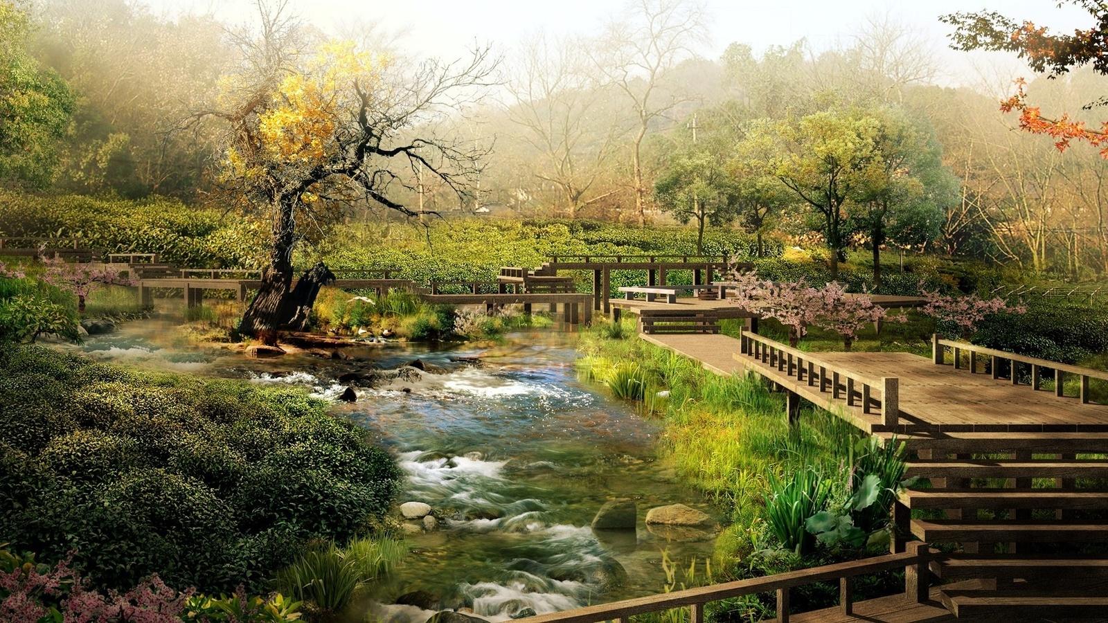 сад, ручей, деревья, мост, кусты, красота, зелень, ступени