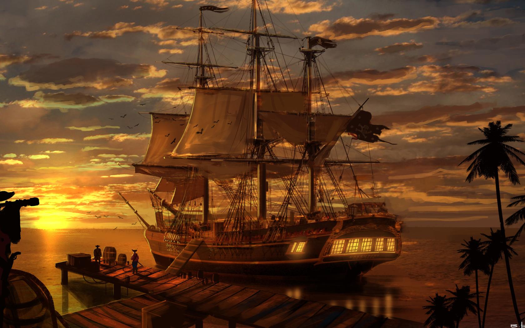 пираты, океан, порт, снабжение, закат, пальмы, облака, солнце, небо,