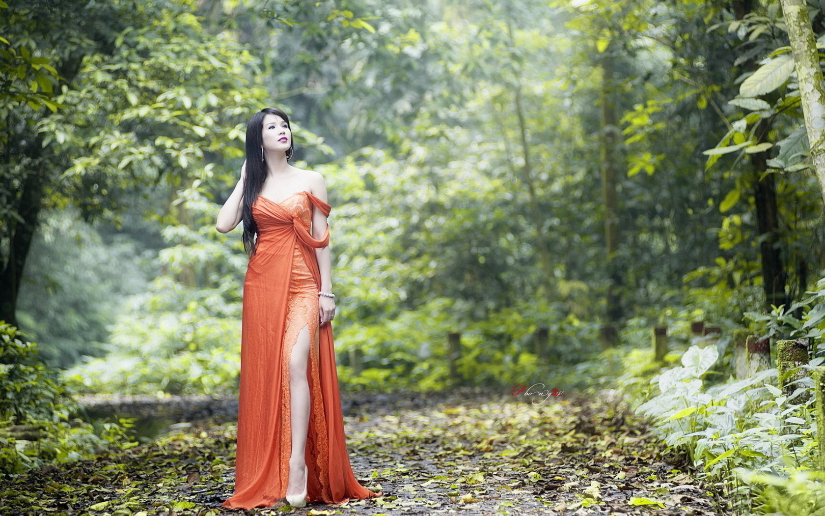 фигура, платье, поза, природа, дорога, секси, лес, деревья, взгляд., барышня, упс,