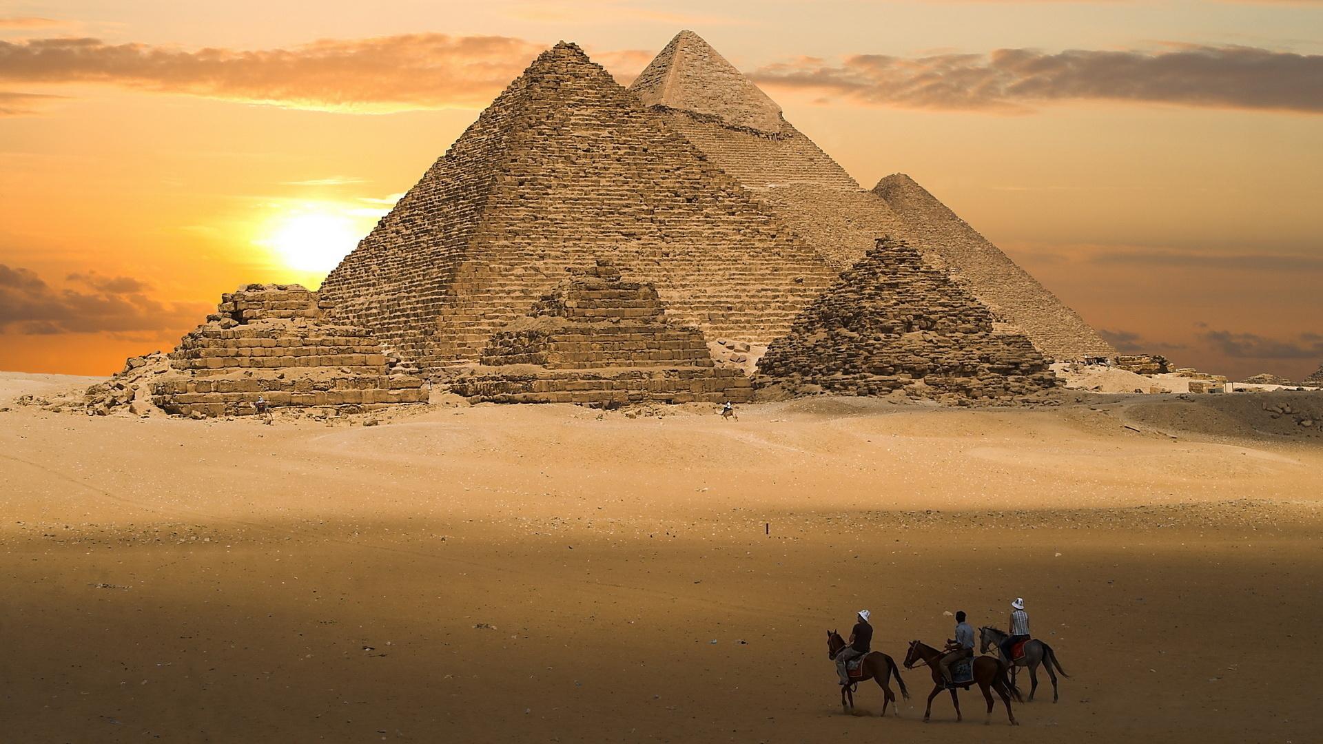 египет, пирамиды, песок, люди, закат, лошади, небо, облака, мечта, природа