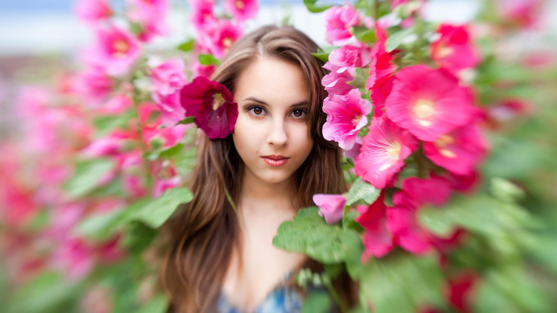 Картинки девушка в цветах, человек