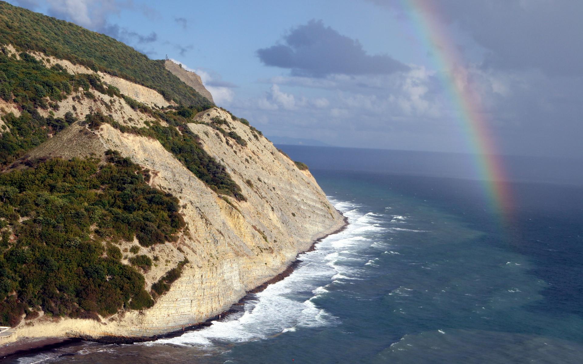 природа, море, океан, радуга, горы, деревья, небо, облака, волна