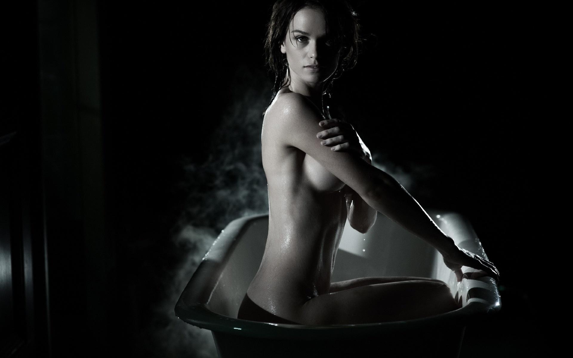 девушка, брюнетка, тело, мокрая, черный, серый