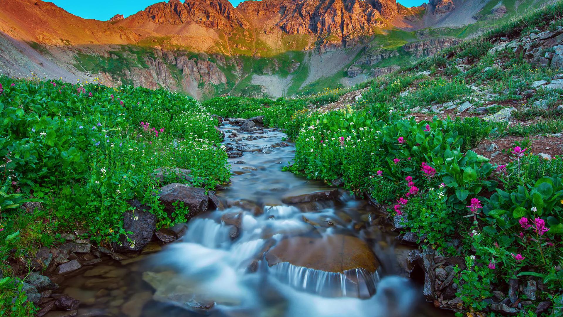 природа, ручей, цветы, горы, небо, закат