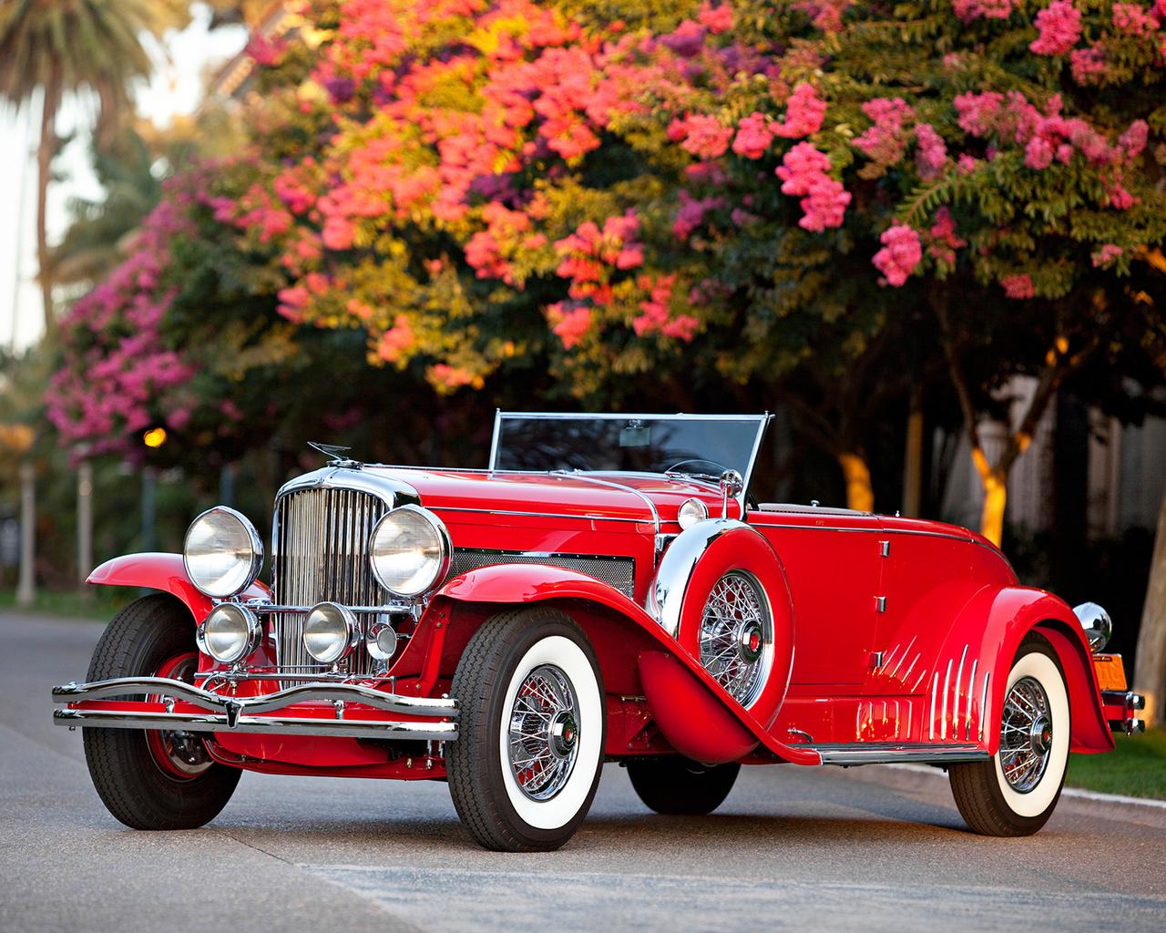 красный, ретро, авто, весна, дорога