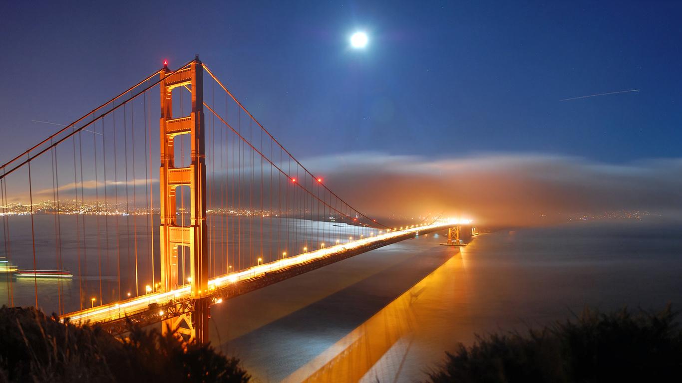 сша, сан франциско, город, мост, вечер, огни, залив, туман, облако, небо, луна