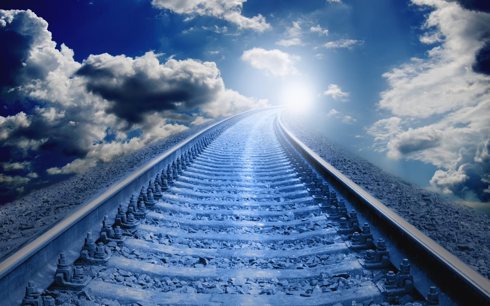 жд, путь, рельсы, шпалы, небо, фотошоп, свет, креатив, облака, фэнтези, фантазия