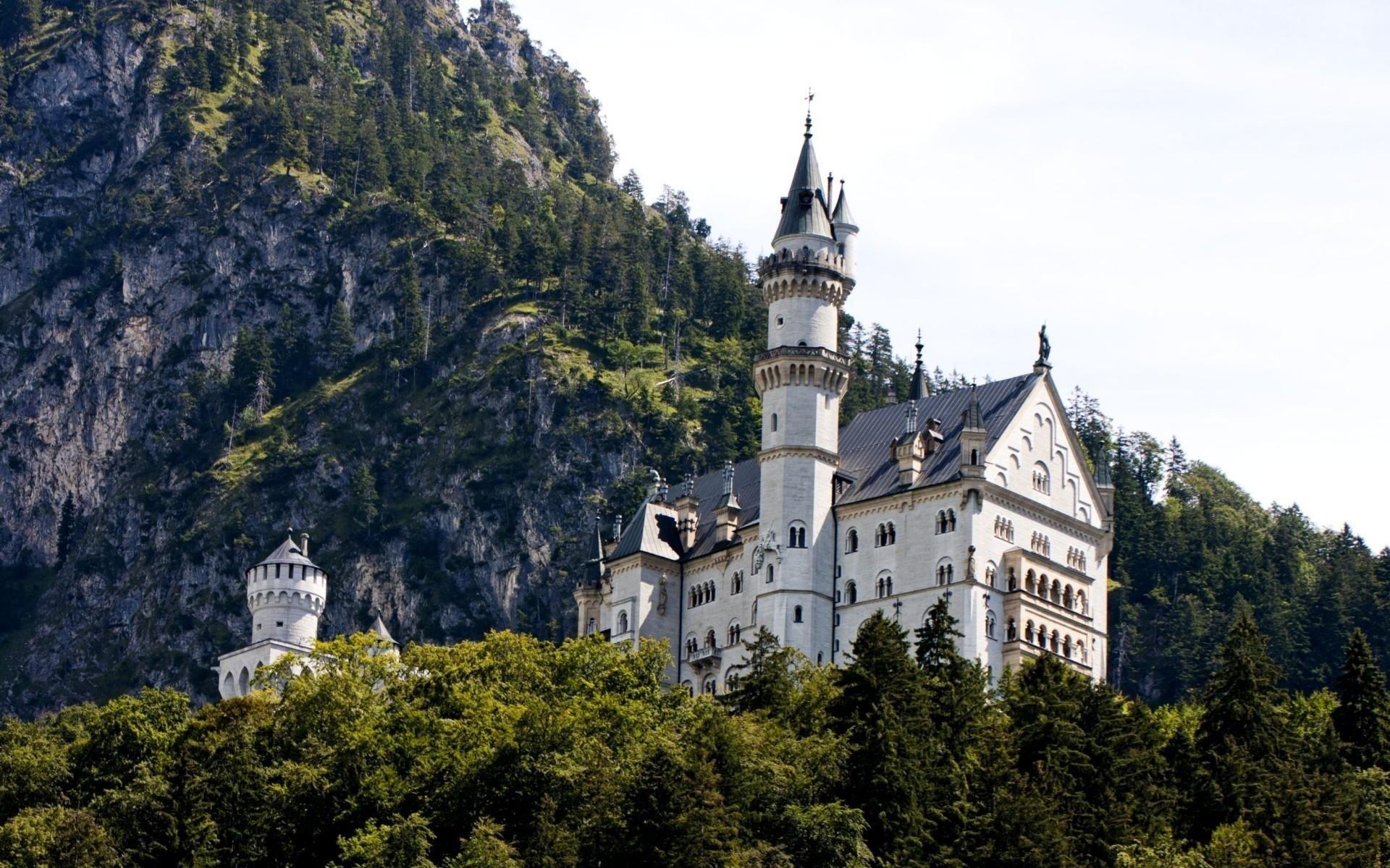 германия, природа, горы, бавария, замок, лес, небо,
